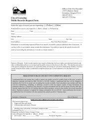 City of Cornelius Public Records Request Form