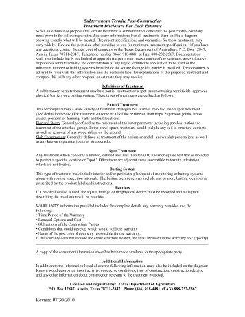 Texas Subterranean Termite Post-construction Treatment Disclosure ...