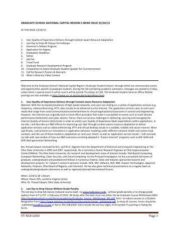 Newsletter 2/24/2012 - National Capital Region - Virginia Tech