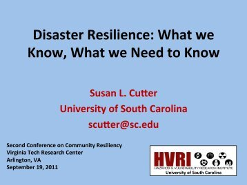 Disaster Resilience: What we Know, What we Need to Know