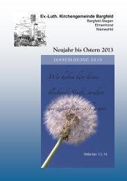 Neujahr bis Ostern 2013 - Kirche Bargfeld