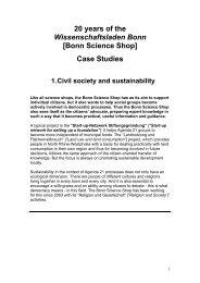 """20 years """"Wissenschaftsladen Bonn"""" - Living Knowledge"""
