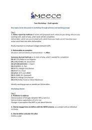 Faro Workshop – Draft agenda Key topics to be discussed ... - meece