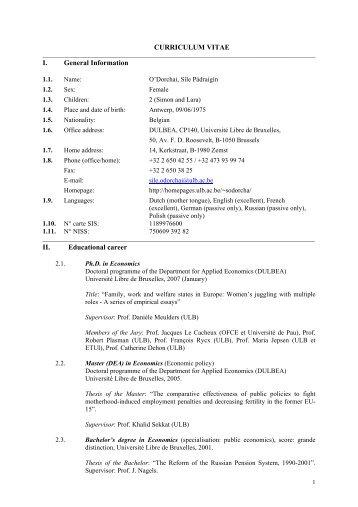 CURRICULUM VITAE I. General Information II. Educational career