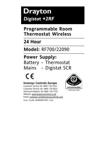 Wiring Diagram For Drayton Digistat : Heating controls drayton instructions