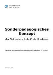 Sonderpädagogisches Konzept der Sekundarschule Kreis Uhwiesen