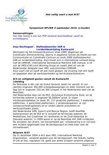 Symposiumsamenvatting - Nederlands Platform voor Waterrecreatie