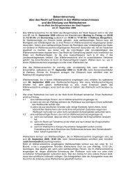 Bekanntmachung Wählerverzeichnis Bürgermeisterwahl