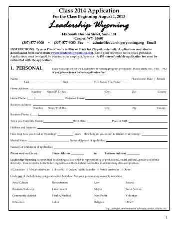 Class 2014 Application - Leadership Wyoming