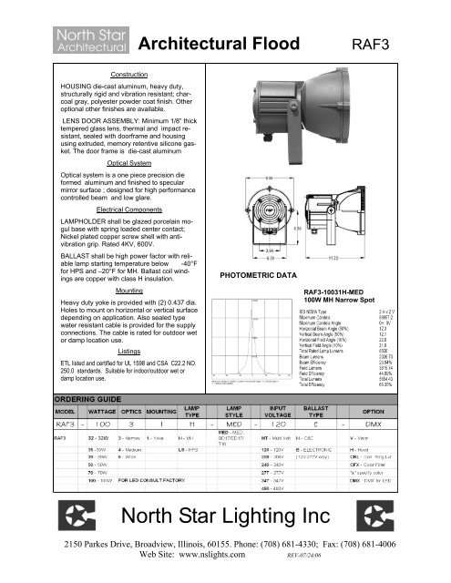 Cutsheet North Star Lighting