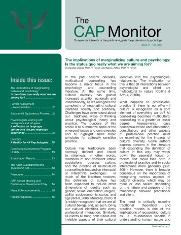 CAP Monitor - Issue 34, Fall 2009 - College of Alberta Psychologists