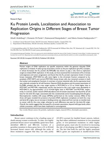 Ku Protein Levels, Localization and Association ... - Journal of Cancer