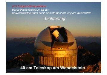 Wendelstein Fpraktikum - Universitäts-Sternwarte München - LMU