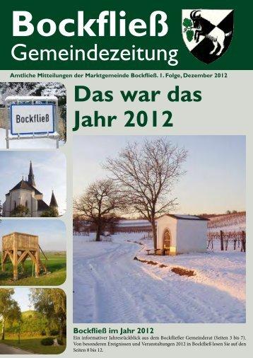 1. Folge, Dezember 2012 - Marktgemeinde Bockfließ