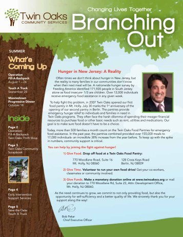 Branching Out – Summer 2013 - Twin Oaks Community Services