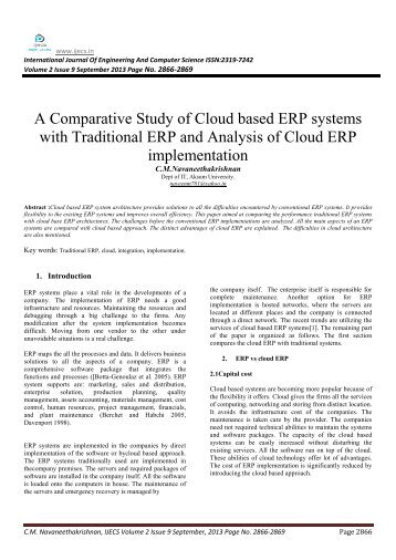 A Comparative Study of Cloud based ERP systems with ... - Ijecs