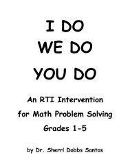 I DO WE DO YOU DO Math Problem Solving Grades 1-5