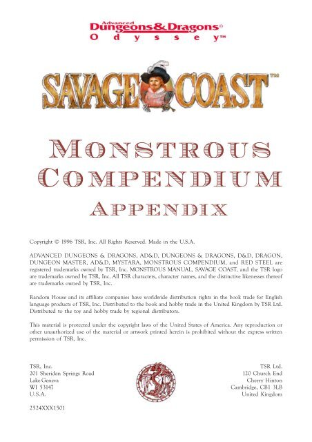 Savage Coast Monstrous Compendium