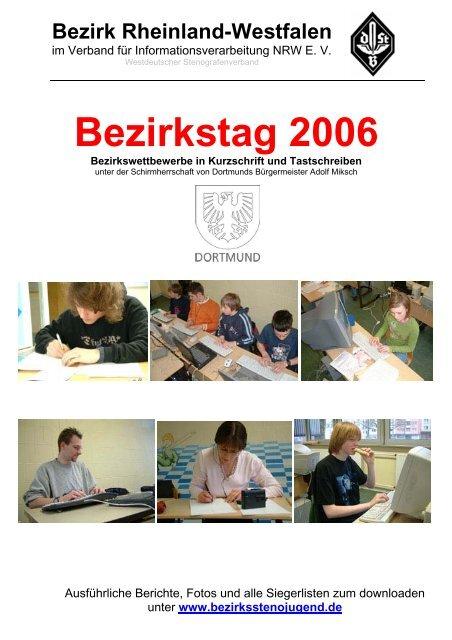 Siegerlisten mit dem Grußwort des Dortmunder Bürgermeisters ...