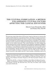 the cultural formulation: a method for assessing cultural factors
