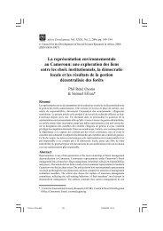 La représentation environnementale au Cameroun - Centre ...
