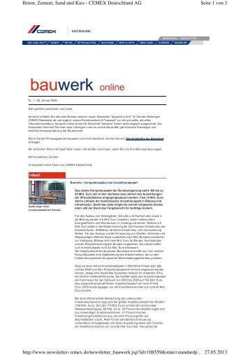 bauwerk online nr. 1 - Cemex Deutschland AG
