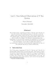 Lab 5: Near Infrared Observations of T Tau System - UGAstro
