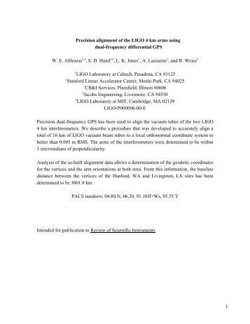 1 Precision alignment of the LIGO 4 km arms using ... - LIGO - Caltech
