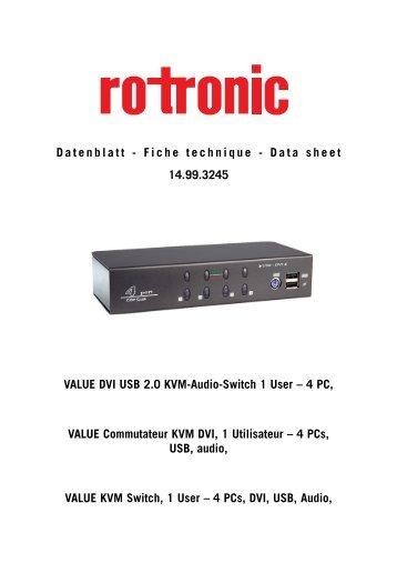 Data sheet VALUE DVI USB 2.0 KVM-Audio-Switch 1 ... - ROTRONIC
