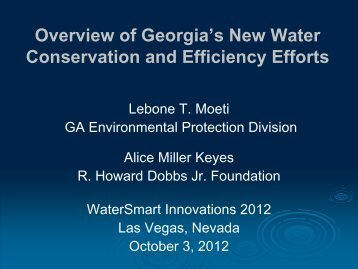 Overview of Georgia's New Water Conservation and Efficiency Efforts