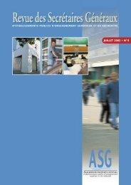 La revue des Secrétaires généraux (N°9) - ASG - Amue