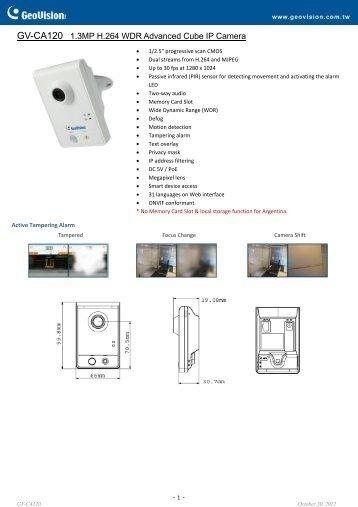 GV-CA120 Datasheet - CCTV Cameras