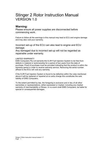 Stinger S-2R Manual - EMS Fuel Injection and Engine Management ...