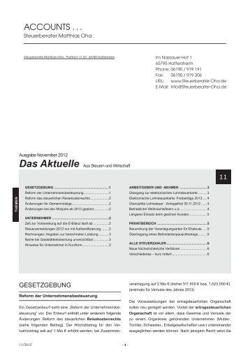 Das Aktuelle November 2012 - Steuerberater Oha