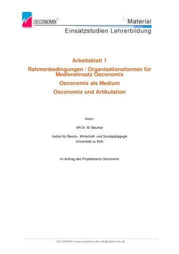 Arbeitsblatt 1 Rahmenbedingungen ... - Oeconomix