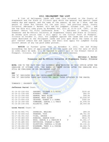 2011 DELINQUENT TAX LIST - Stephenson County, Illinois
