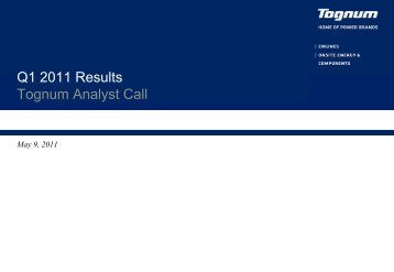 Q1 2011 Results Tognum Analyst Call