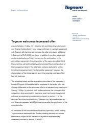 Tognum welcomes increased offer - Investoren