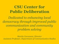 CSU Center for Public Deliberation - Policy Consensus Initiative and ...