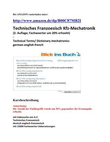 Technisches Franzoesisch Kfz-Mechatronik Automobiltechnik