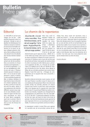 Editorial Le chemin de la repentance - Gebet für die Schweiz