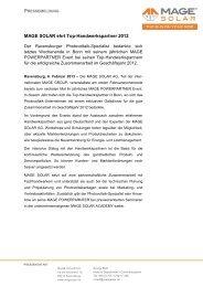 MAGE SOLAR ehrt Top-Handwerkspartner 2012