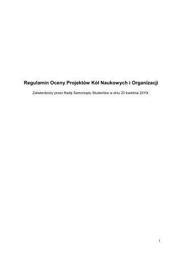 Regulamin Oceny Projektów Kół Naukowych i Organizacji