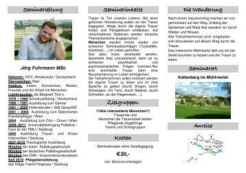 folder erlebnisworkshop trauerwanderung - Jörg Fuhrmann
