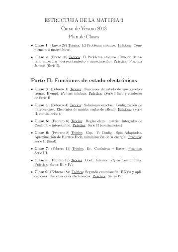 ESTRUCTURA DE LA MATERIA 3 Curso de Verano 2013 Plan de ...