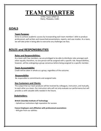 analysis of team charter Joint helicopter safety analysis team (jhsat) charter 1 sponsorship the jhsat is sponsored by the ihst per their charter, which was approved january 10, 2006.