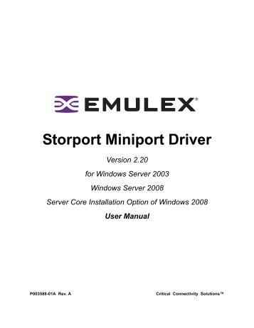 Emulex SCSI Miniport Drivers (2019)