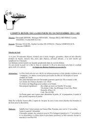 COMPTE RENDU DE LA REUNION DU 04 NOVEMBRE 2011 14H