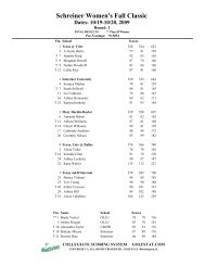Schreiner Women's Fall Classic Dates: 10/19-10/20, 2009