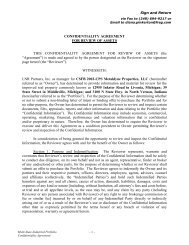 CONFIDENTIALITY AGREEMENT - Property Line